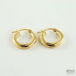 New Ladies 9ct Yellow Gold Twisted Hoop Earrings 17 x 15mm RRP£40 Gift Boxed