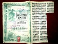 Banco Central Mexicano  Share certificate 1903 uncancelled with coupons