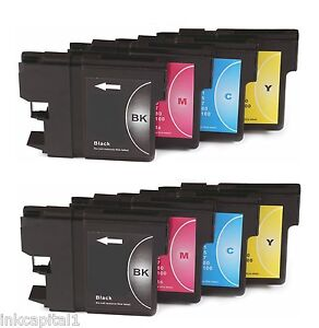 8 x Inkjet Cartridges Non-OEM Alternative For Brother LC1000 - 2 Sets Multi Pack