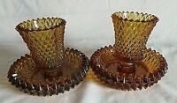VTG Set of 2 Amber Gold Round Hobnail Votive Candle Holder    u080