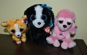 Lot of 3 Big Eyes Plush Dogs TY  Beanie Boos Tracey &  Pablo & Pink Poodle