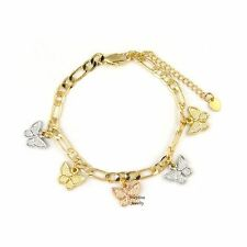 14k Gold Plated 3-Tone Butterfly Dangling Charms Bracelet with Extension
