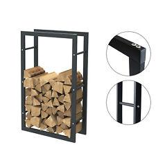 Étagère de cheminée exclusive en métal noir mat Porte bûches cheminée 60x100