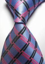 New Classic CHECKS Bleu Noir Rose Jacquard Tissé 100% Soie Hommes Cravate Cravate