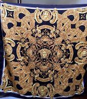 VERSACE Signed ICONIC Black & Gold Baroque-MEDUSA Logo SILK SCARF BNWT! Gift Box