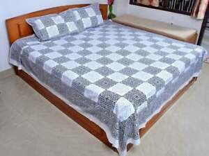 Indian Hand Block Print Bed Sheet With Pillowcase Rectangle Cotton Bed Cover Set