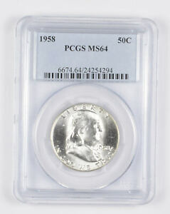 1958 MS64 Franklin Half Dollar - 90% SILVER - PCGS Graded *937