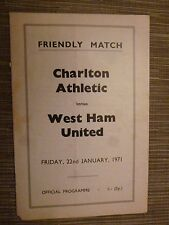 1971 Friendly Match - CHARLTON ATHELETIC v  WEST HAM UNITED - 22nd January