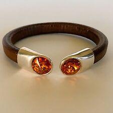Mens Brown Genuine EU Regaliz Leather Bracelet w/Swarovski(TM) Crystal End Caps