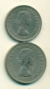 2 DIFFERENT COINS from GREAT BRITAIN - 2 SHILLINGS & HALF CROWN (BOTH 1965)