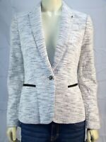 New Women's Tommy Hilfiger White Gray Tweed Lined Blazer Jacket Size 4 Small