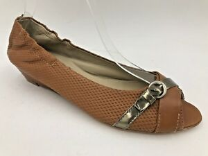 AGL Flats Low Heels size 8.5 9 38.5 Brown Leather Open Peep Toe Ballet Italy B4