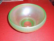 VINTAGE GREEN GLASS BOWL IRIDESCENT