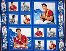 Elvis Presley Fabric - Blue Hawaii Surf Beach Elvis King Rock N' Roll - PANEL