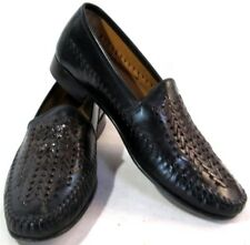 Florsheim Men's Slip On Black And Brown Woven Leaher Shoes Size 9.5 D US