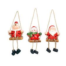 Evelyne 3-Piece Set LED Ceramic Christmas Hanging Ornaments Decorative Display