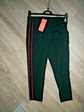 M& S SIZE 12 FITNESS CROPS TROUSERS  BLACK PINK STRIPE ACTIVEWEAR