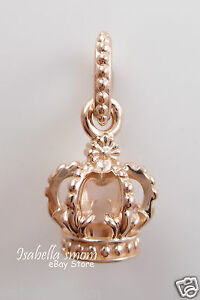 NOBLE SPLENDOR Authentic PANDORA Rose GOLD Plated CROWN Dangle CHARM 781376 NEW