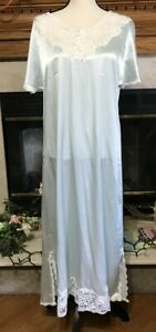 VINTAGE CHRISTIAN DIOR SHINY BLUE SATIN FULL LENGTH WOMENS NIGHTGOWN SIZE SMALL