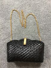 Jaeger Black Patent Leather Woven Cluthch Bag