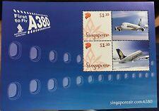 Singapore stamps - 1st Launch A380 SQ SIA Miniature Sheet MNH aircraft