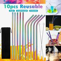 Rainbow Stainless Steel Drinking Straws Straight Bent Metal Straw Brush Reusable