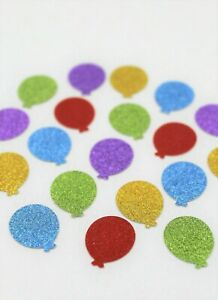 50 x SPARKLY BALLOONS MULTICOLOURED SMALL CARD MAKING CRAFT SCRAPBOOK