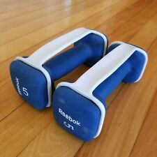 Reebok 5 Lbs (10 lbs Total) Neoprene Dumbbell Weight Home Gym Blue Lot Set Of 2