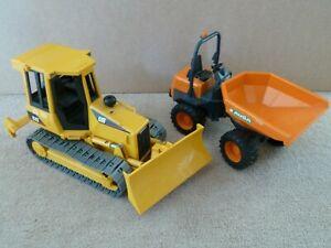 Bruder CAT caterpillar bulldozer and AUSA mini dumper truck 1:16 joblot