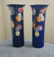 More details for a pair of crown devon fieldings lustrine blue lustre vases, autumn leaf pattern