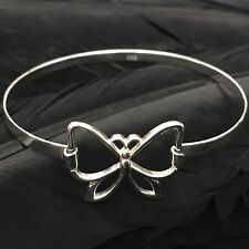 Hinged Bangle Bracelet 7 1/4� Sweet Whimsical Estate Sterling Silver Butterfly