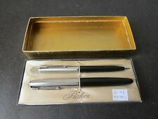 Parker 41 Black Fountain Pen and Pencil Set ~ Excellent!! (S116)