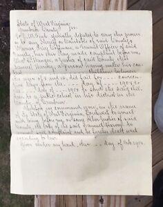 US GOOD GREENBRIER CO 1908 WARRANT FOR ARREST WV ESTATE FIND