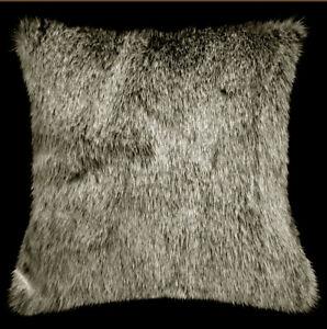 Fq803a Black Thick Long Plush Faux Fur Cushion Cover/Pillow Case*Custom Size*