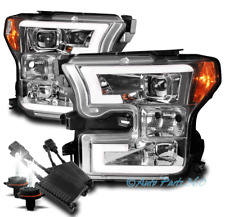 For 15-17 Ford F-150 Pickup Drl Led Chrome Projector Headlight Lamp W/50W 6K Hid