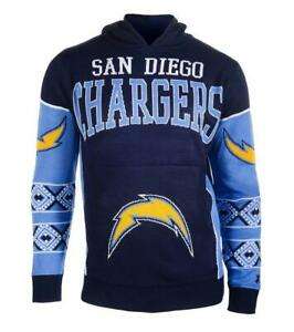 Men's San Diego Chargers Klew Navy Big Logo Sweater Pullover Hoodie Sz. M
