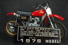 HONDA XR75 1/78  MOTOR DRIVEN CYCLE Head tube Neck PLATE DATA ID TAG