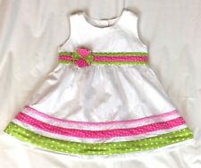Butterflies Girl's Size 6 Party Dress White Pink Green Flower Bow Sleeveless