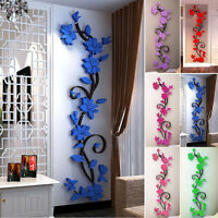 3D Rose Flower Wall Sticker Removable Acrylic Home decor Decal Room Vinyl DIY