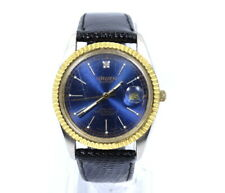 Mens Classic GRUEN Diamond Blue Dial Two Toned Stainless Steel Quartz Watch