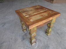 Rustic End Table-Mexican-18x18x22-Furniture-Primitive-Old Door-Olive Green