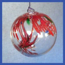 "Hanging Glass Ball 4"" Diameter ""Holiday Tree"" Witch Ball (1) WB106"