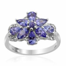 Tanzanite & White Topaz Cluster Flower 0.925  Sterling Silver Ring Size 6 & 7