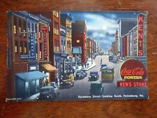 1950s Sycamore Street South View Petersburg VA Postcard Posted Coca Cola Sign