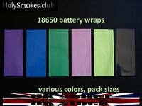 18650 battery wraps heat shrink. Various colors and pack sizes. Pre-Cut to size.