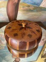 Vintage Wooden Box Trinket Round Container Wood Bowl with Lid Handmade circa1942