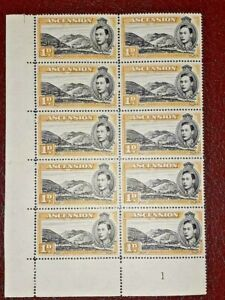 ASCENSION George VI KGVI SG39c PLATE BLOCK MNH Row 10/2 Line On Mountain VARIETY
