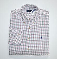 NWT Men's Ralph Lauren Casual Long-Sleeve Shirt, Bone, Forest, L, Large