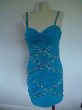 LADIES LIPSY TURQUOISE BLUE STUDDED BANDEAU DRESS SIZE 8 UK NEW