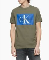 Calvin Klein Jeans Men's Monogram Logo-Print T-Shirt Green Sz XL $35